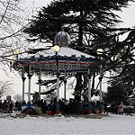 Bandstand in Priory Park in Snow