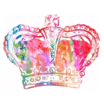Rainbow watercolour of a Crown
