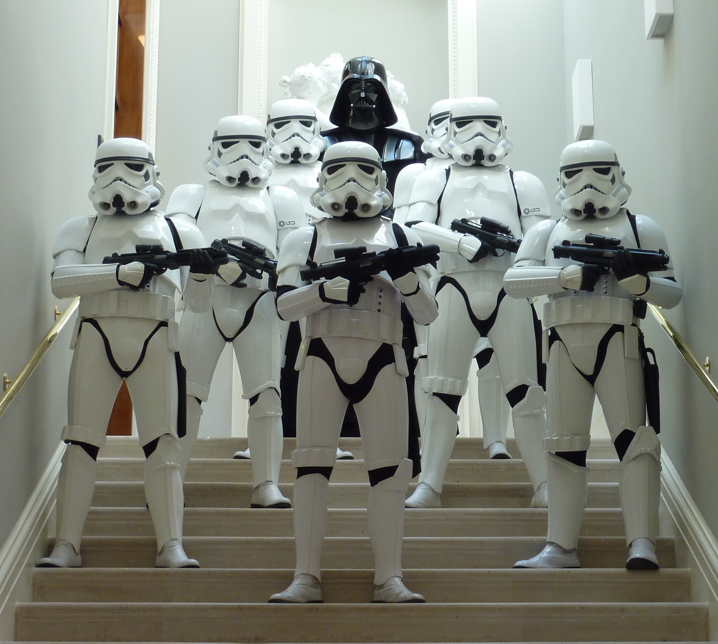 Darth Vader and Stormtroopers on stairs