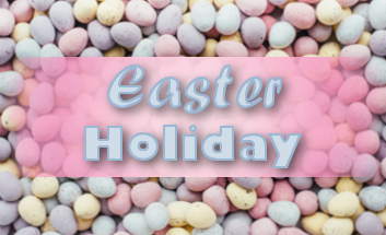 Easter holiday text on mini egg background
