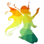 Fairy silhouette in rainbow colours