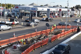 Photo of the work taking place at Kent Elms junction in 2015 to install a Toucan crossing