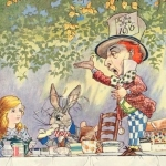 Mad Hatter standing on the Tea Party table