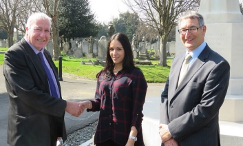 Stephen Taylor presenting the Concils donation to Natasha with Cllr Morning