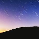 Meteors in sky