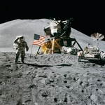 Astronaut and Moon Lander on the moon