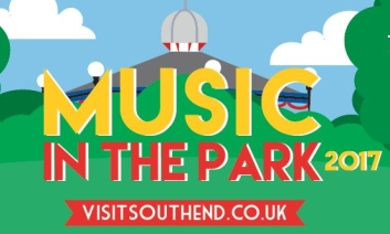Music in the park logo with bandstand in the background