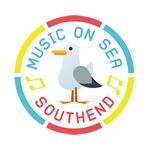 Music on sea logo with seagull