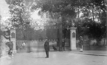 Black and White photo of Priory Park Gates
