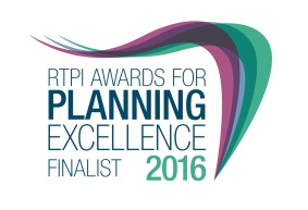 Photo of logo for RTPI awards for planning excellence finalist 2016