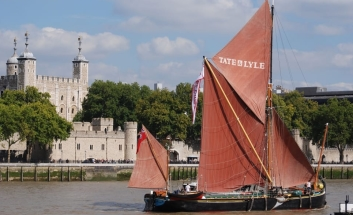 Sailing Barge next to White Tower