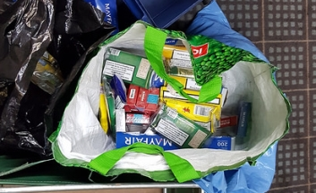 Bag of Seized tobacco products
