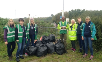 group with rubbish collected
