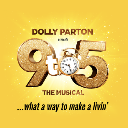 Gold and glittering 9 to 5 on yellow shining background promoting Dolly Parton the musical
