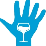 cartoon open hand with fingers pointing upwards and a wiine glass in the middle of the hand