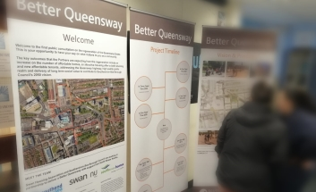 Exhibitions boards showing how the new Queensway could look
