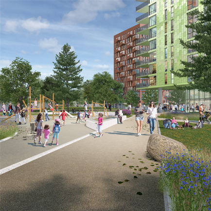 Computer generated image of Better Queensway proposals, showing people in communal space