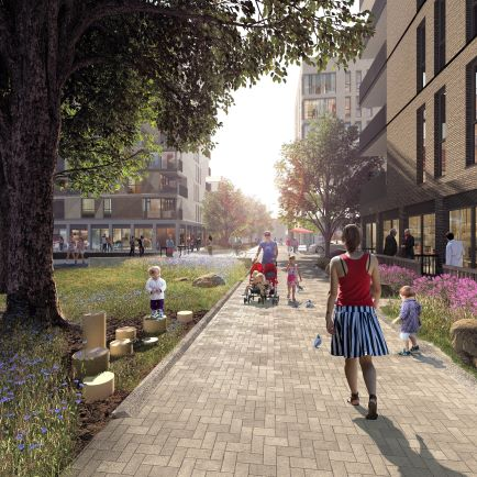 Artists Impression of the street view for Better Queensway