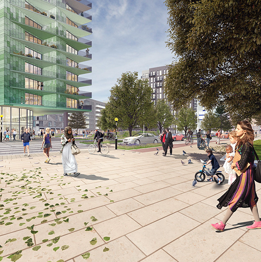 CGI image of people walking in the public space at Better Queensway