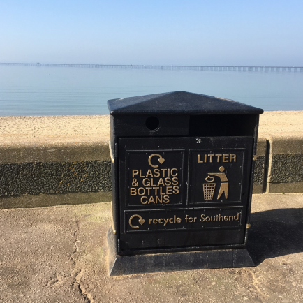 Bin on Southend seafront