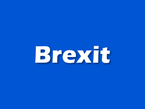 white text brexit on a blue background