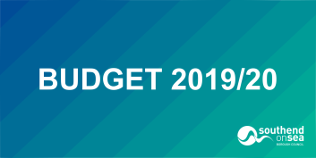 Budget 2019/20 on Blue to Jade gradient background.