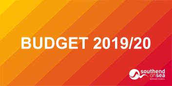 Budget 2019/20 on Yellow to Red gradient background.