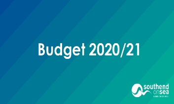 Budget 2020-21 written in white on a blue background