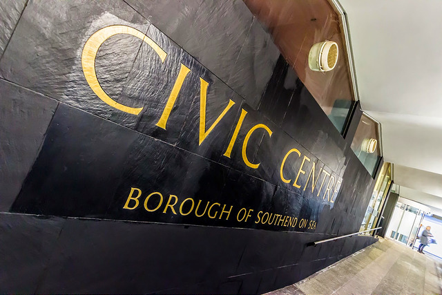 Black wall outside the Civic Centre with the words Civic Centre in gold