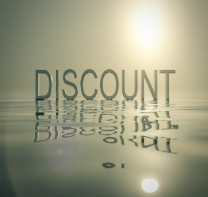 The word discount floating on water with the sun overhead with a reflection of the sun and the word on the water