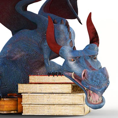 Blue Paper Dragon guarding a stack of books