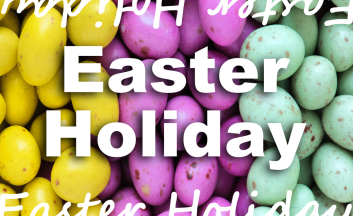 Text reads Easter Holiday on a background of colourful chocolate eggs.