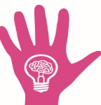 Cartoon showing an open hand with fingers pointing upwards. In the middle of the hand is a lightbulb with a brain inside it.