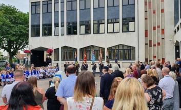 Crowds at the Civic Centre Flag pole for ceremony