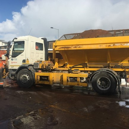 Gritter being loaded with salt