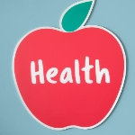 red apple with the word health written across the middle of the apple