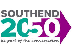 Southend 2050 logo. Arrow pointing right towards the future.