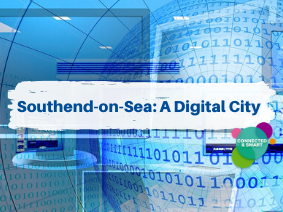 Southend A Digital City, ones and zeros repeating over a computer screen