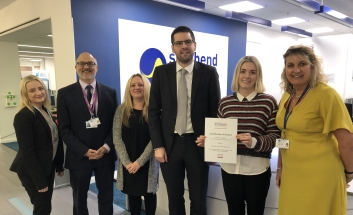 Chloe Read, Amir Girnary, Lucie Babbington, Cllr James Courtenay, Daisy Smith and Caroline Reynolds – from the 60 Minute Mentor and A Better Start Southend Work Skills projects