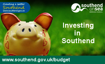 Piggy Bank face on with Investing in Southend text