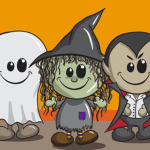 Cartoon Ghost, Witch and Dracula