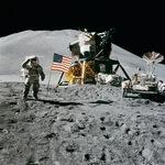 Astronaut and Moon Lander on the moon