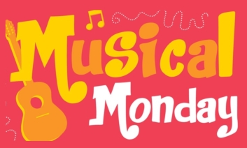 Musical Monday logo on coral background