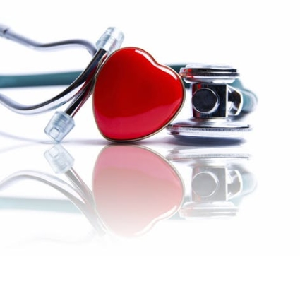 Red heart and medical equipment