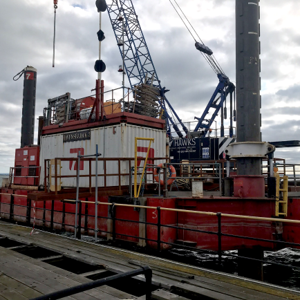 Pilling barge at the end of Southend Pier