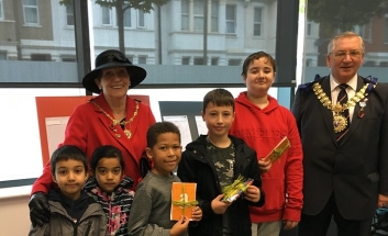 Mayor John Lamb and Mayoress  Pat Lamb with finalists of Queensway children's competition.
