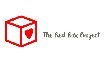 Cube in red outline with Heart on one side. Text reads The Red Box Project