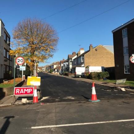Road being resurfaced