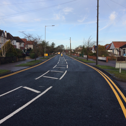 View of newly resurface road in Southend