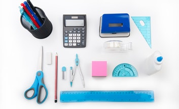 School stationery in shades of blue